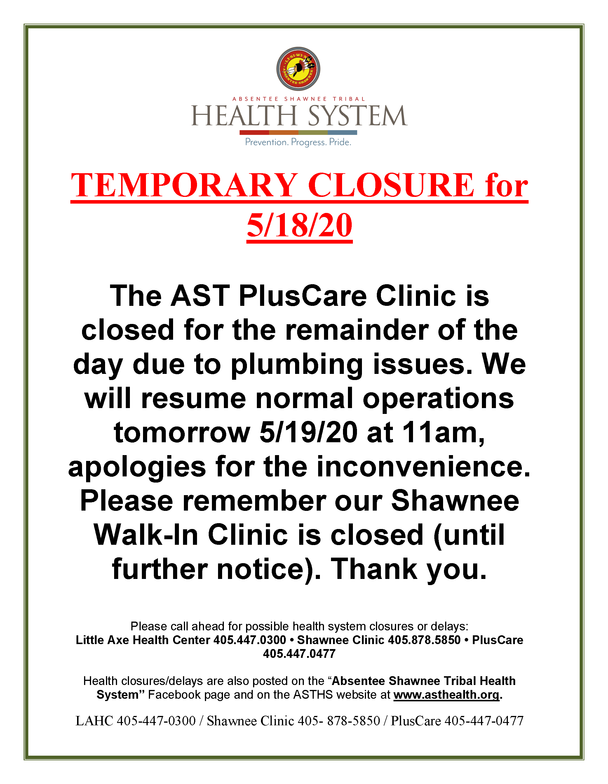 Pluscare Closed The Evening Of 5 18 20 Absentee Shawnee Tribal